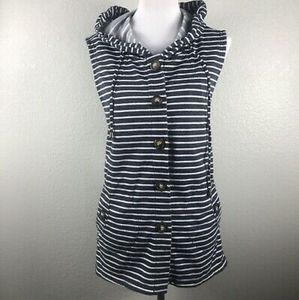 For Cynthia Vest Sleeveless Stripes Hoodie